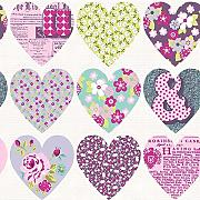 Arthouse Patchwork Heart Floral Muster Typografie Blumen Tapete Purple 668501