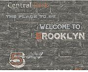 AS Creation Brick Wall Muster Tapete Brooklyn Silber Typografie 959091