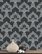 Belgravia Marrakech Black / Silver Eastern Damask Textured Heavyweight Wallpaper GB2204 by SERIANO