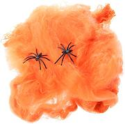 Spinnennetz mit Spinnen Halloween Requisiten Dekorative Halloween-Szene Halloween Kostüm - Orange, L x B: 18,5 x 21,5 cm