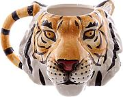 Weiß Keramik Becher MUG227 Tiger Head Design Schwarz/Weiß/Orange