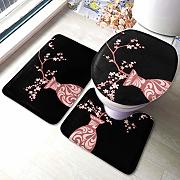 3 Piece Bathroom Rug Set Blooming Sakura Branches
