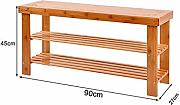3-Tier-Schuh-Rack, Bambus Schuh Bench ideal for