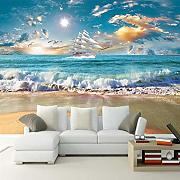 3d wallpaper glatte seelandschaft segel