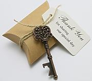 50pcs Wedding Favors Candy Box w/ Antique Skeleton Key Bottle Openers Escort Card Thank You Tag Pillow Box (Key Style #1) by DLWedding