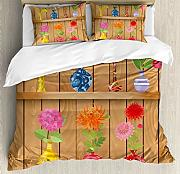 ABAKUHAUS Blumen Bettbezug Set King Size, Cartoon