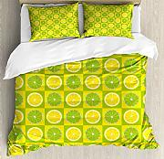 ABAKUHAUS Lime Green Bettbezug Set Doppelbett,