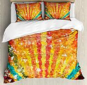 ABAKUHAUS Orange Bettbezug Set Doppelbett,