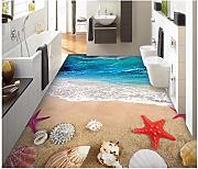 Aliworte 3D Tapete Bodenbelag Sea Wave Shell Home