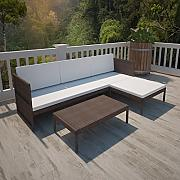 Anself Rattan Lounge Set Loungemöbel Loungeset