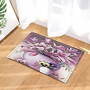 BLSYP Fußabtreter Watercolor Flowers Decor Pink