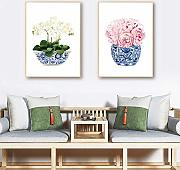 Blue and White Chinese Vase Canvas Prints White
