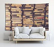 Bücherregal Illustration Wandteppich Wandbehang