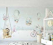 BZDHWWH Kinder Wall Paper Cartoon Bunny Foto