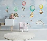 BZDHWWH Kinder Wall Paper Cartoon Tier Ballon Foto