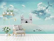 BZDHWWH Kinder Wall Paper Cartoon Whale Castle