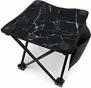 Camping Hocker Black Marble With White Texture