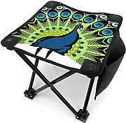 Camping Hocker Colorful Fashion Art with Peacock