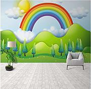 Cartoon Regenbogen Wandbild Tapete 3D Muster Home