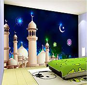 Cartoon Star Moon Castle Wandbild Tapete 3D Muster