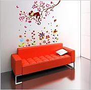 COM-colorful flower + Monkey Großer Wand Sticker