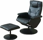 Dynamic24 Kunstleder Relax Sessel + Hocker