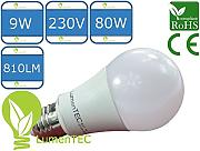 E27, LED E27, LED lampe E27, E27 9W Warmweiss, 810