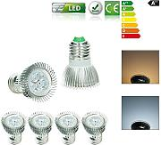 ECD Germany 4-er Pack 3W E27 LED Spot Lampe