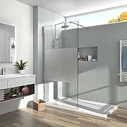 EMKE 140cm Walk in Dusche Walk in Duschwand 8mm
