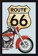 empireposter - Route 66 - Rotes Bike - Größe