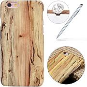 Felfy Hülle für iPhone 6 Plus,iPhone 6S Plus Schutzhülle,iPhone 6 Plus Wood Case,iPhone 6S Plus Hülle Holz Slim Luxury Schutzhülle mit PC Plastic Hart Back Holz Cover Einzigartige Langlebige Dünne Holz Mobile Bumper Holz Tasche Handyhülle Case Passen für iPhone 6 Plus / 6S Plus 5.5 Zoll + 1x Silver Stylus + 1x Bling Dust Plug [Farbe Random]