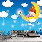 Foto 3D Wallpaper für Kinderzimmer Nette Cartoon