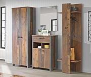 Garderobe Clif 4-TLG. Komplett-Set Optik: Old Wood