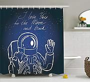 JAKE SAWYERS Outer Space Decor Shower Curtain, I