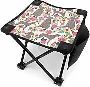 liang4268 Camping Hocker Dogs with Flowers Folding