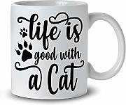 Life Is Good With A Cat 33 cl Tasse ii222
