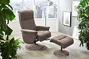 lifestyle4living Relaxsessel in Beige/Chrom,