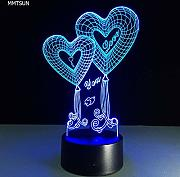 LNHYX 3D Illusion Lampe Herzform Liebe