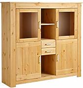 Loft24 Highboard Vitrine Kiefer massiv Landhaus