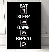 Mentalsign Eat Sleep Game Repeat Zitat Symbol