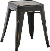 Metall Hocker Armin-antik_schwarz-gold