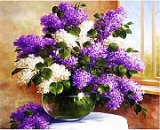 MSFX Oil Painting Purple and White Flowers In
