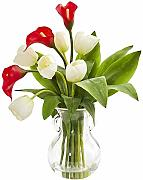 Nearly Natural 1726-RW Calla Lily & Tulips