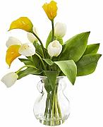 Nearly Natural 1726-YC Calla Lily & Tulips