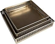 Orientalisches eckiges Tablett Set aus Metall