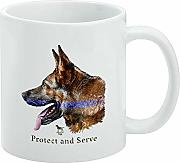 Protect and Serve K9 Police Thin Blue Line German