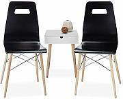 Relaxdays Design Stuhl 2-er Set ARVID, Holz,