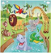 RYQRP 3D Vorhang Blickdicht Cartoon Zoo 2er Set