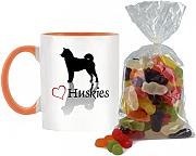 Stilvolle Herz Huskies Design bicolor Becher mit