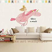 Süße Prinzessin Unicorn Wandbild 3D Cartoon